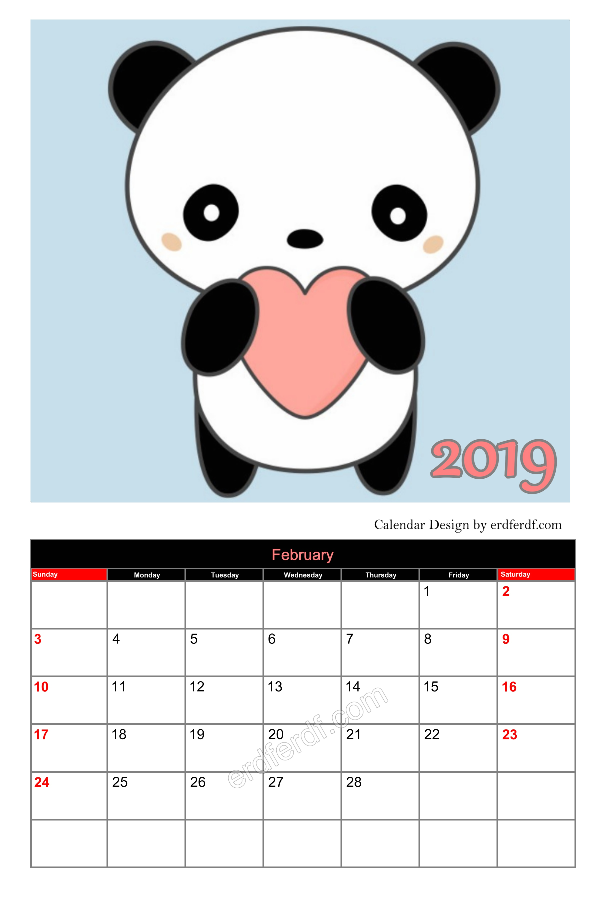 Panda Cute Editable Calendar 2019 February Cute Free Download