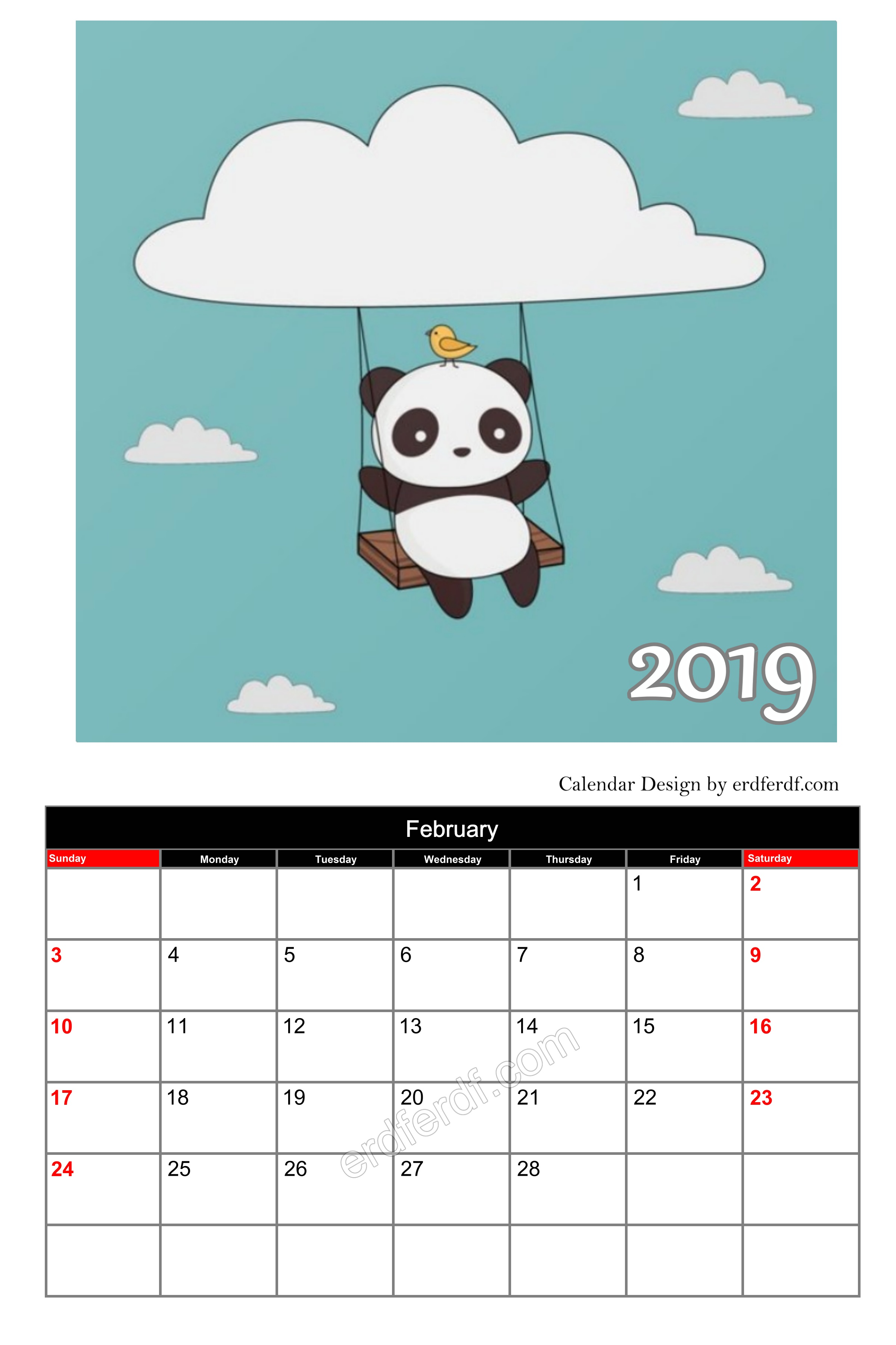 Panda Cute On Sky Editable Calendar 2019 February Cute Free Download