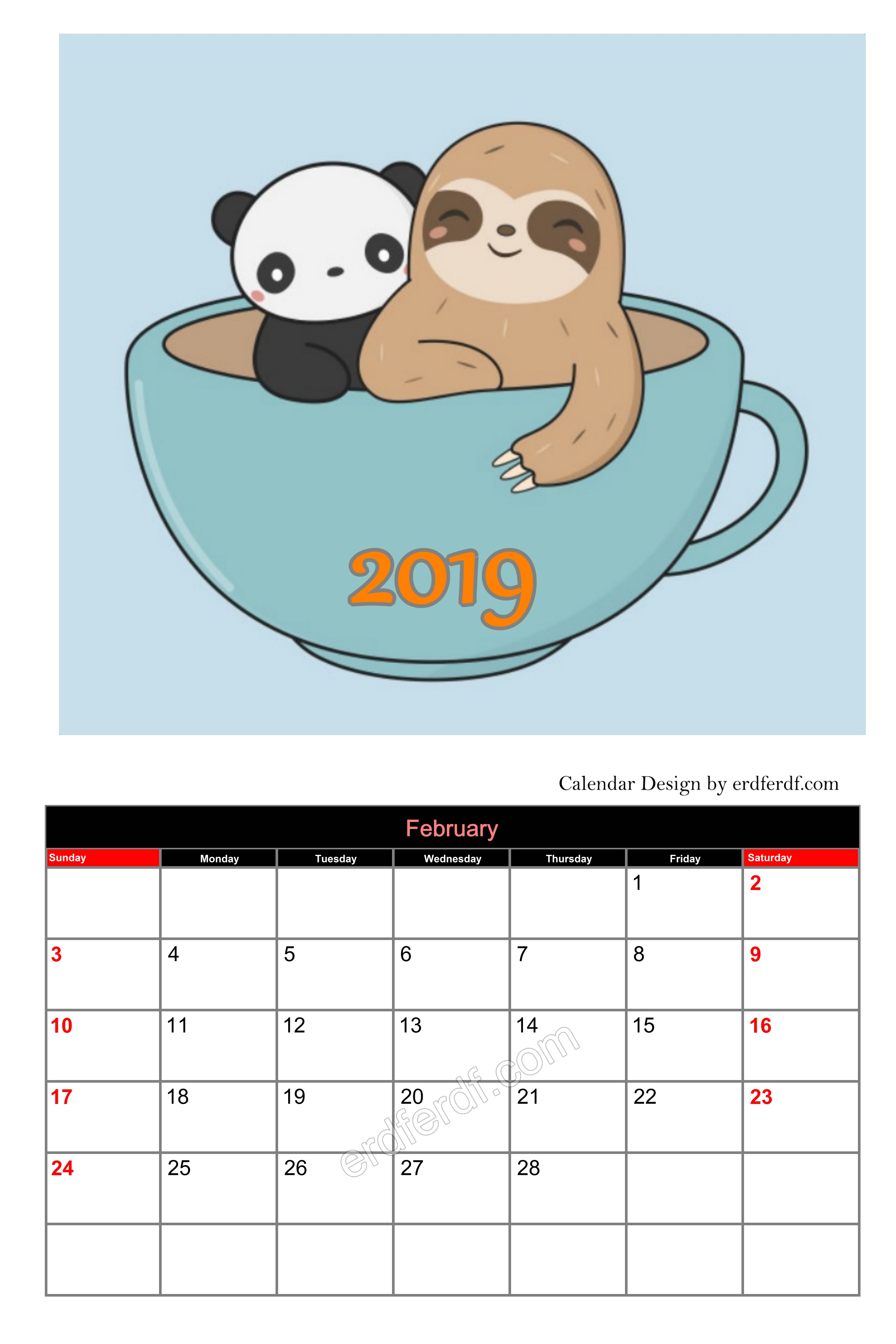 Very Cute Editable Calendar 2019 February Cute Free Download