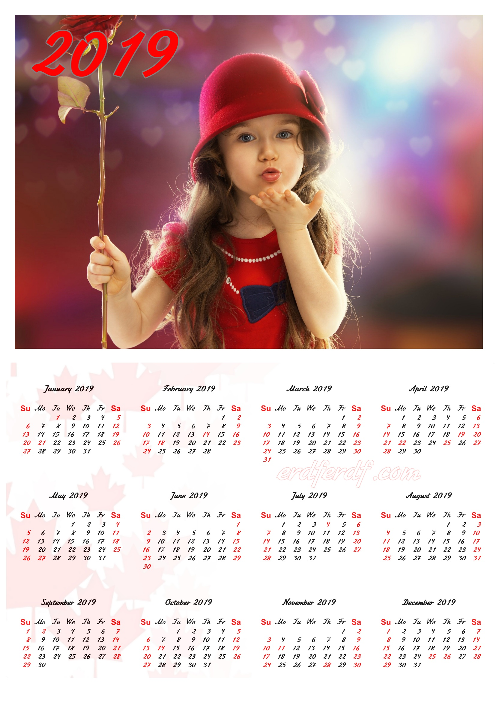 Very Cute Girl Canada 2019 Calendar Printable Free Download