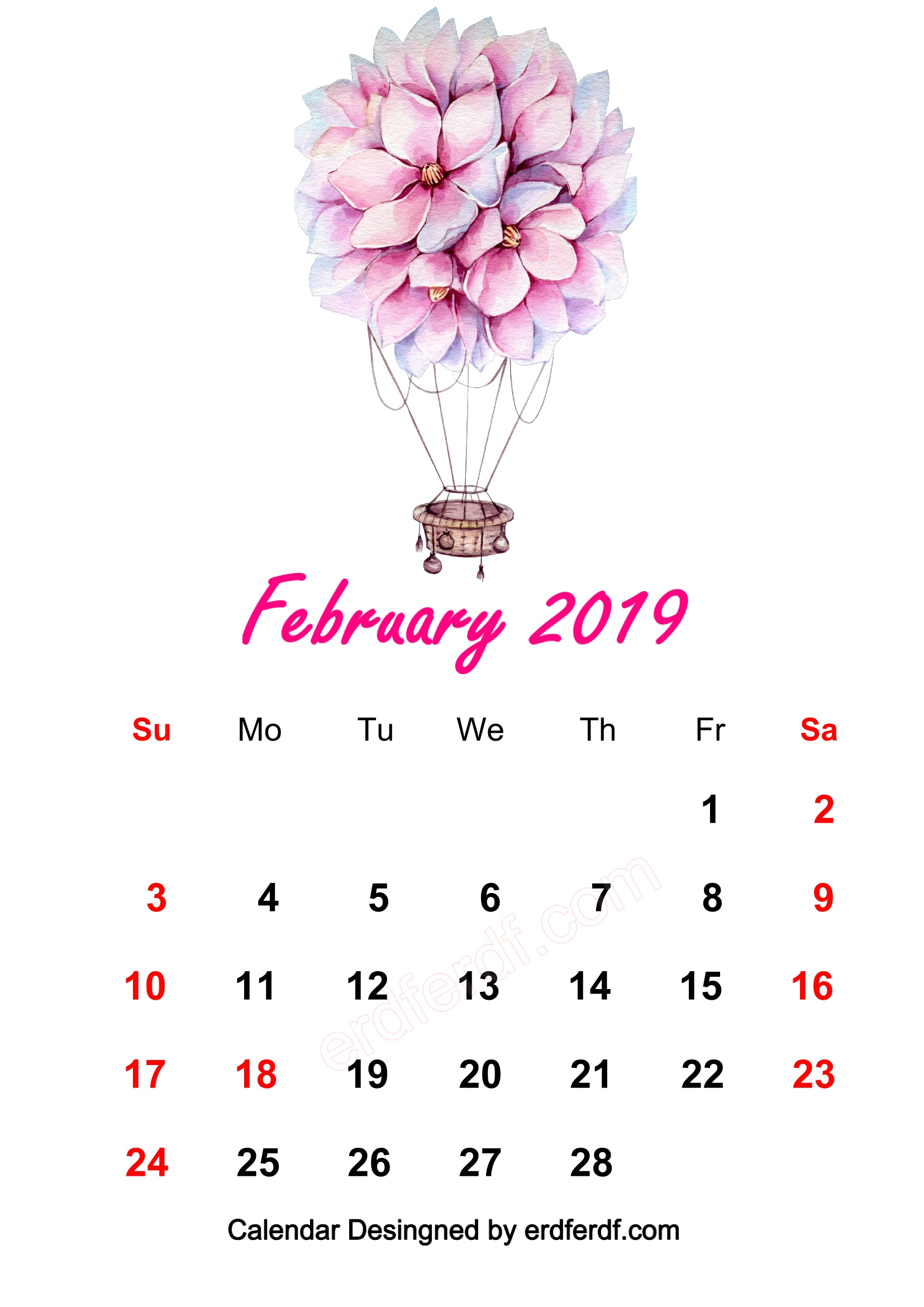 1 February 2019 HD Calendar Wallpapers Watercolor Flowers