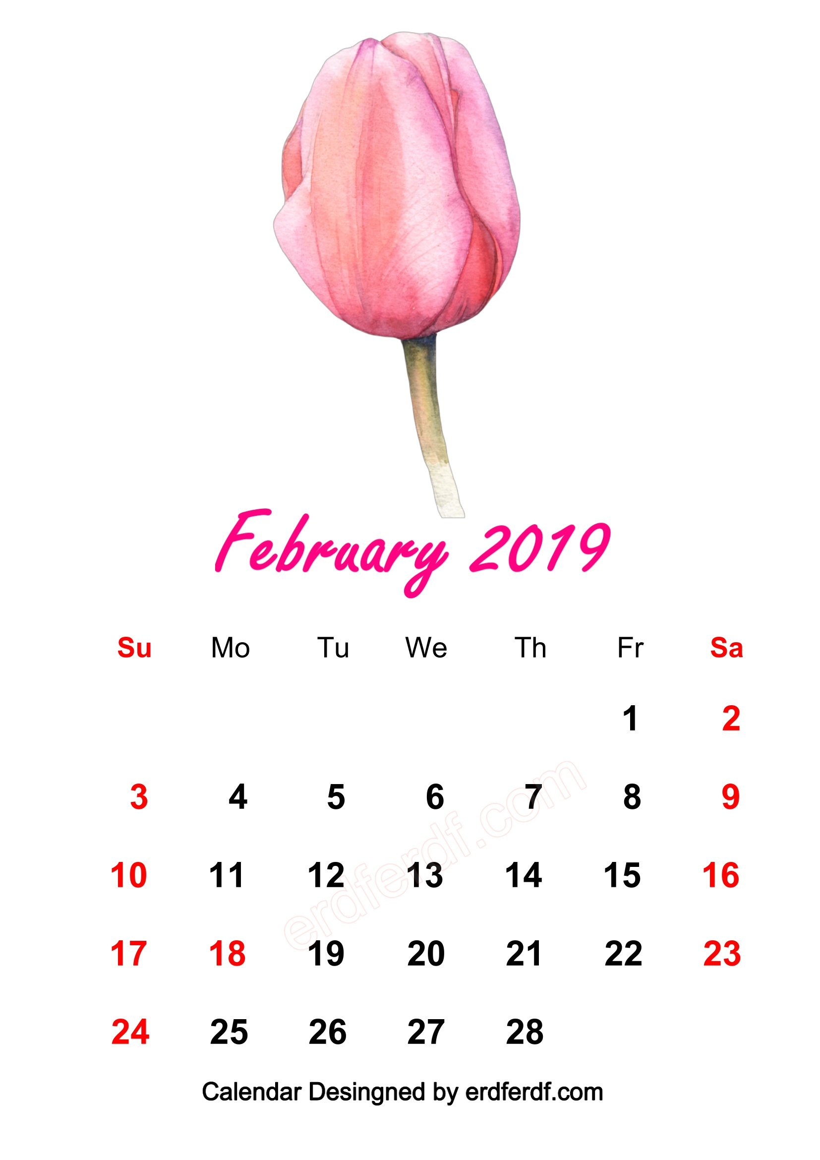 2 February 2019 HD Calendar Wallpapers Watercolor