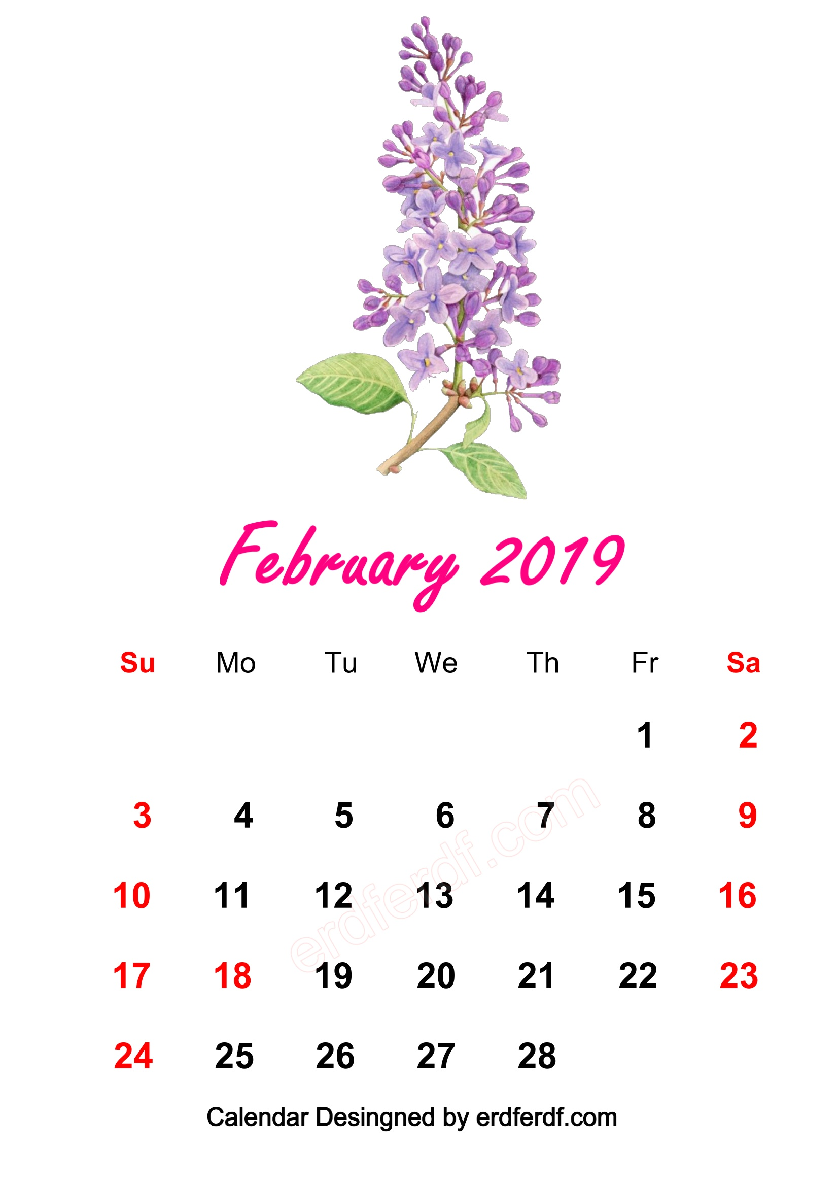 7 February 2019 HD Calendar Wallpapers Prety WaterColor