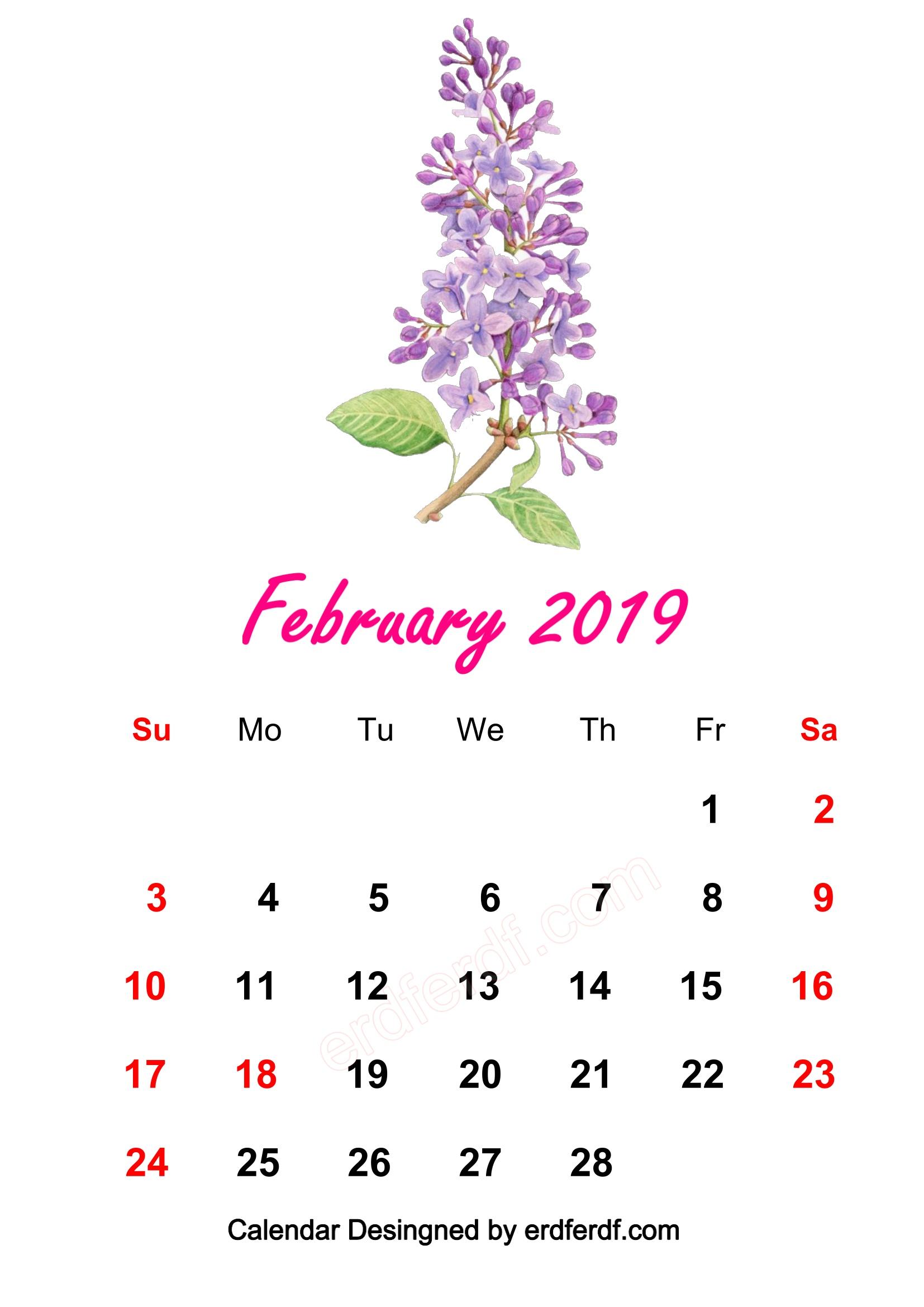 7 February 2019 HD Calendar Wallpapers Prety WaterColor
