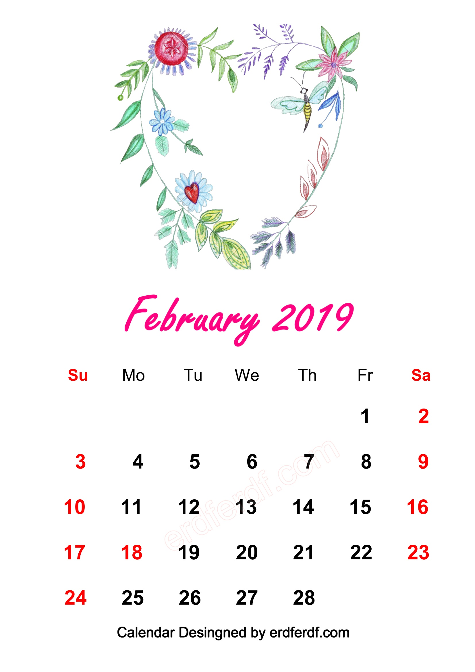 8 Love February 2019 HD Calendar Wallpapers