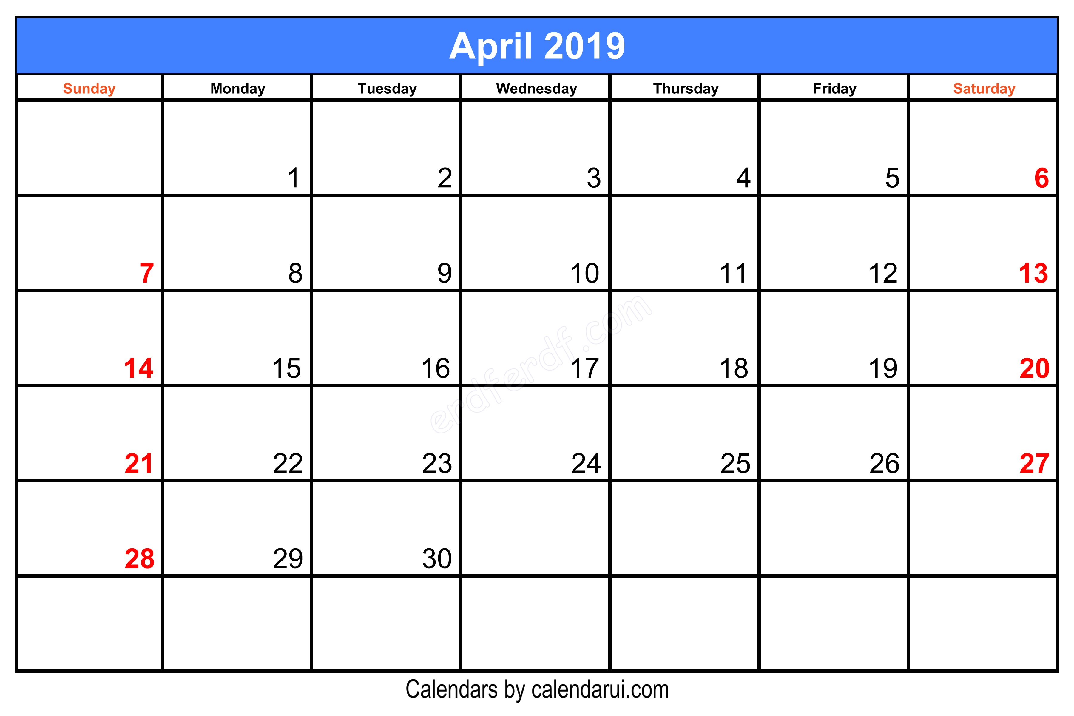 Blank April 2019 Calendar Printable Center Header