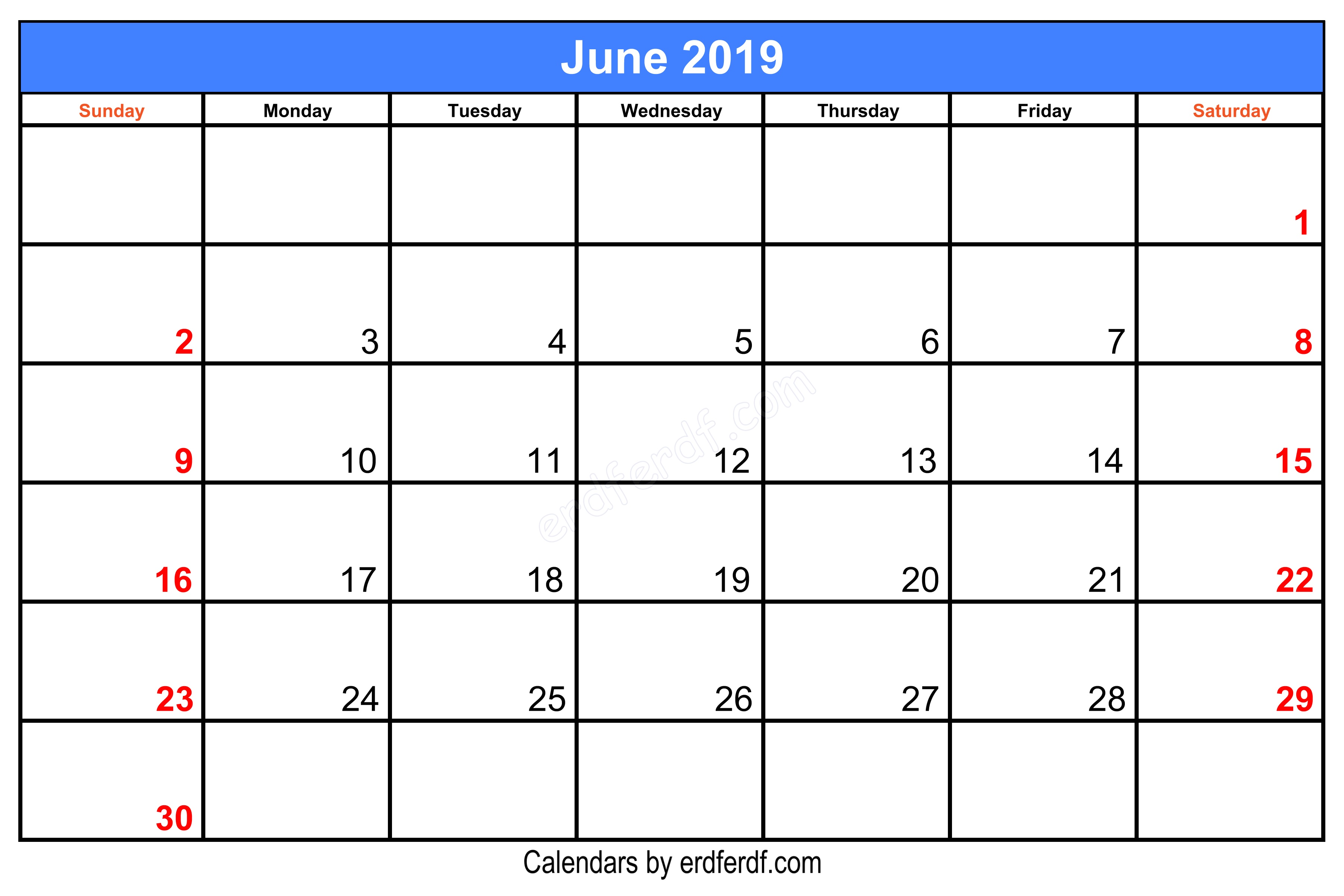 Blank June 2019 Calendar Printable Free Download Centre Header