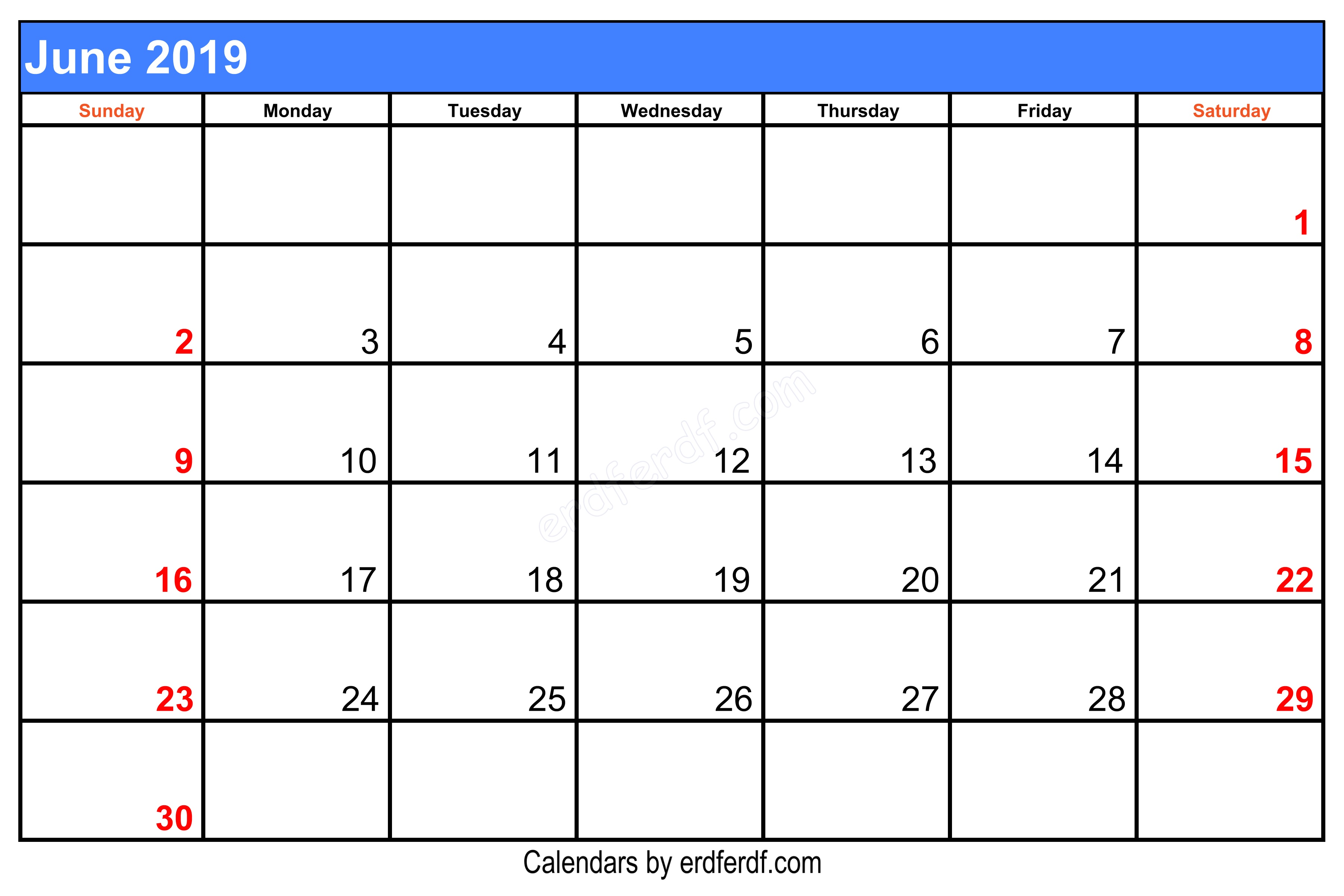 Blank June 2019 Calendar Printable Free Download Centre Left