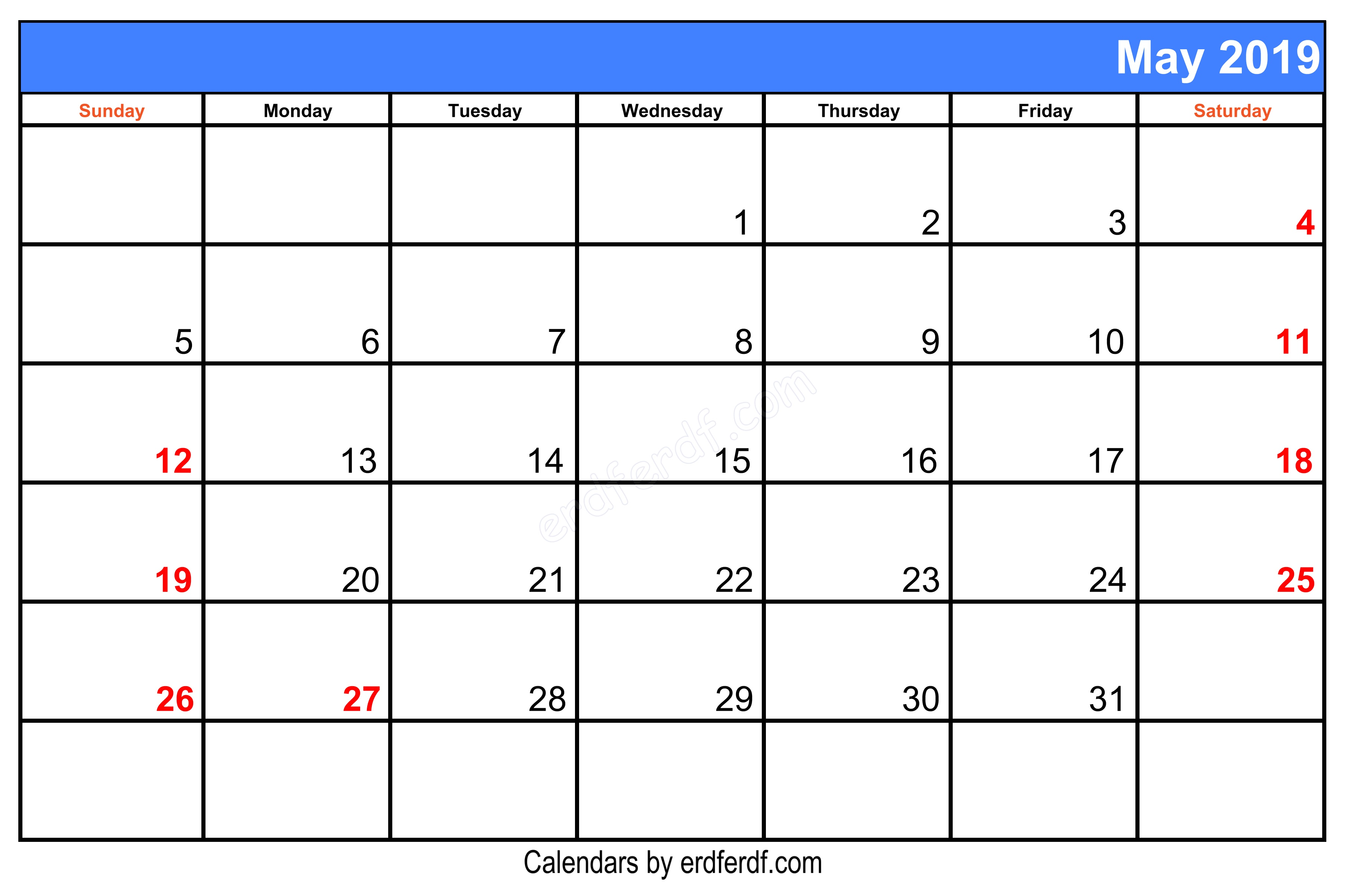 Blank May 2019 Calendar Printable Right Header