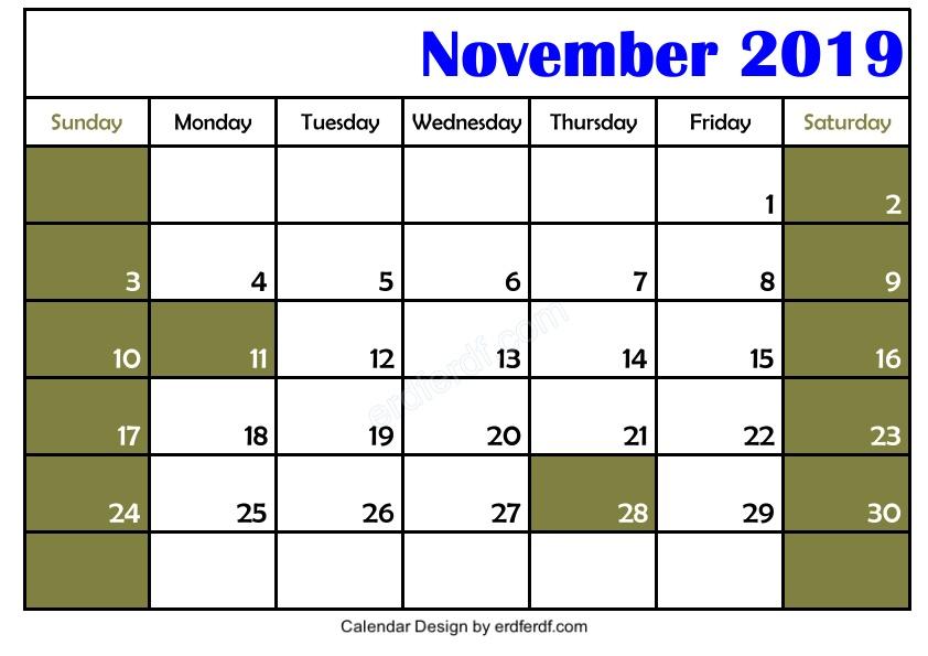 Blank November 2019 Calendar Printable Free 3 Example Free