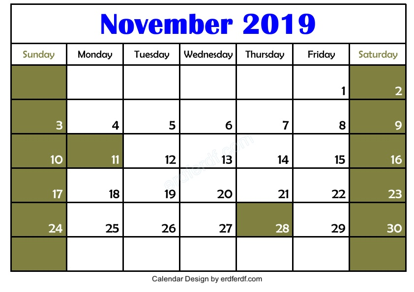 Blank November 2019 Calendar Printable Free 3 Example Template