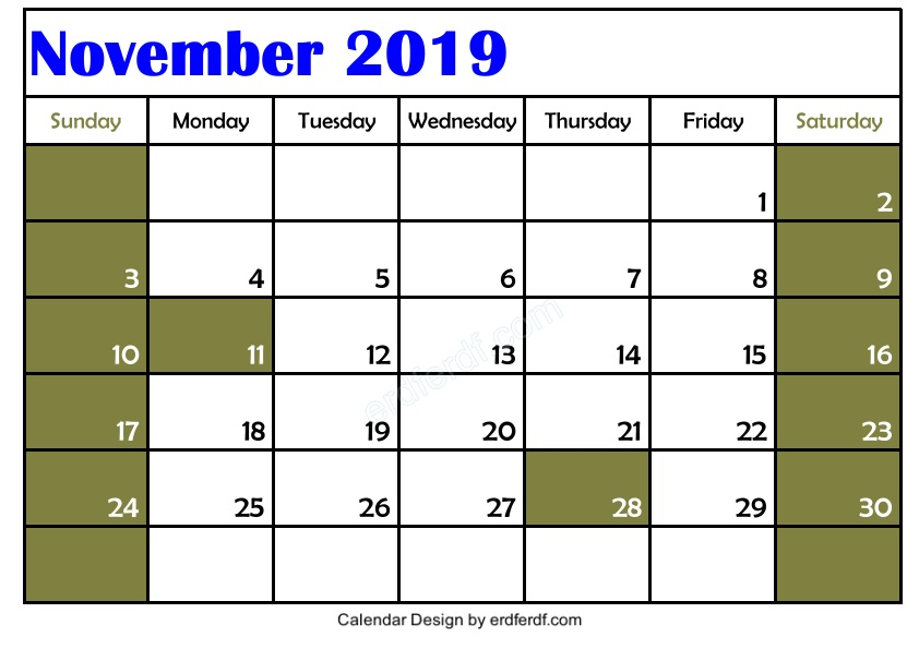 Blank November 2019 Calendar Printable Free 3 Example