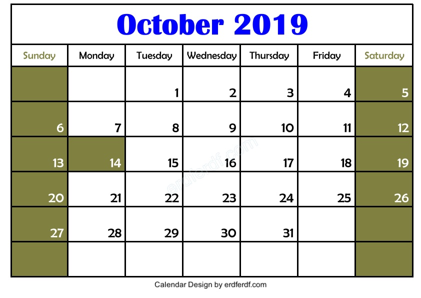 Free 3 Blank October 2019 Calendar Printable Download 2