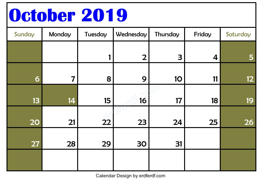 Free 3 Blank October 2019 Calendar Printable Download 3