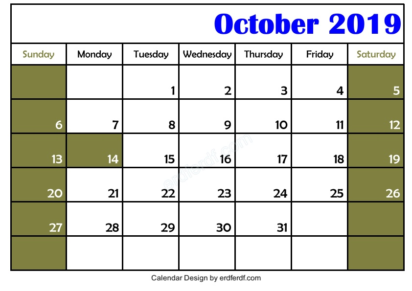 Free 3 Blank October 2019 Calendar Printable Download