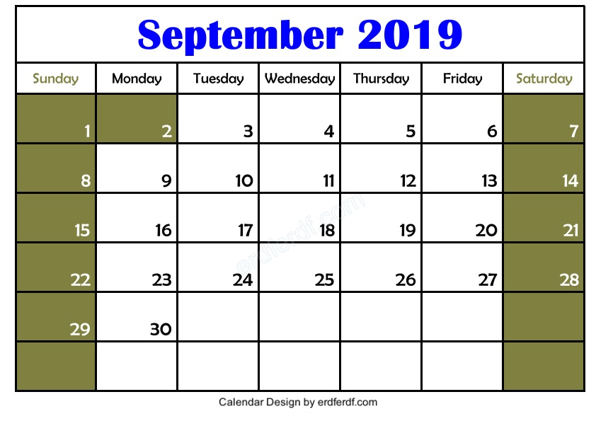 Free 3 Blank September 2019 Calendar Printable Template Download 2