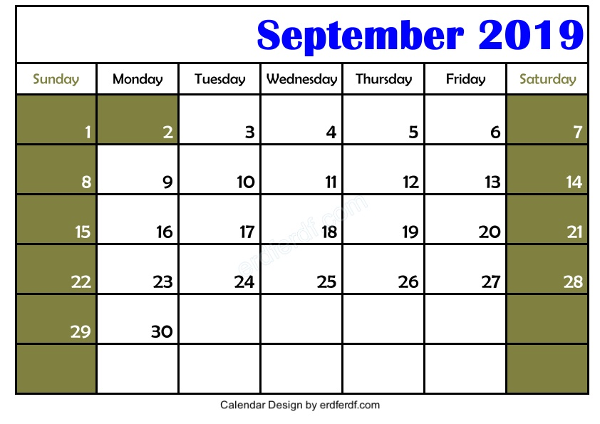 Free 3 Blank September 2019 Calendar Printable Template Download 3