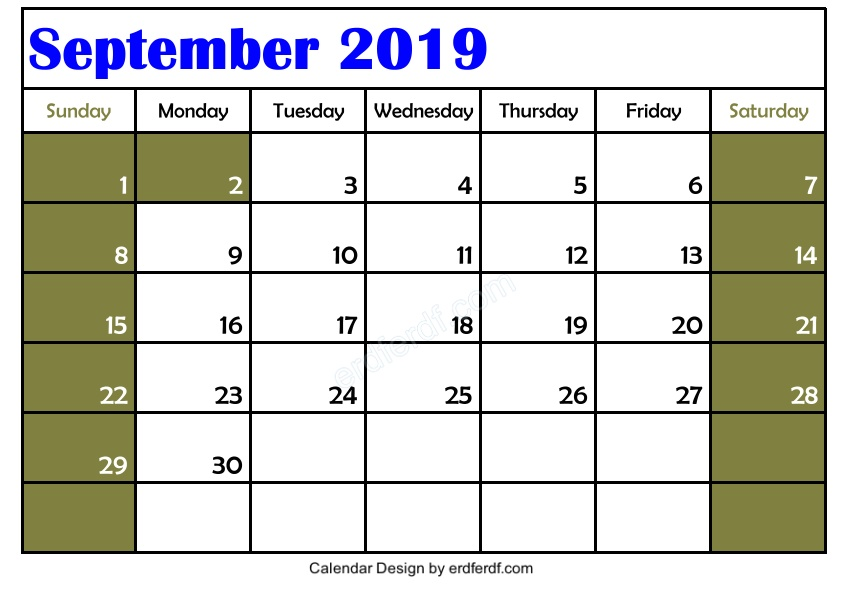 Free 3 Blank September 2019 Calendar Printable Template Download