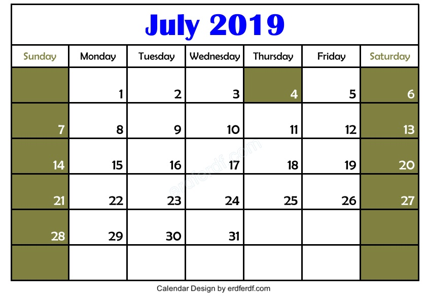 Free Download Blank July 2019 Calendar Printable Simple 2
