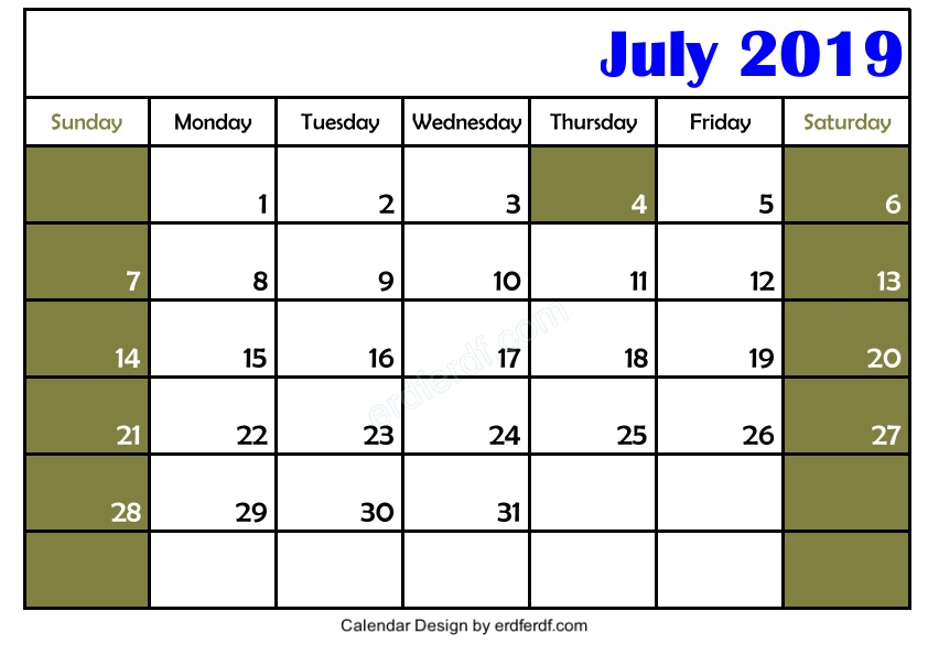 Free Download Blank July 2019 Calendar Printable Simple 3