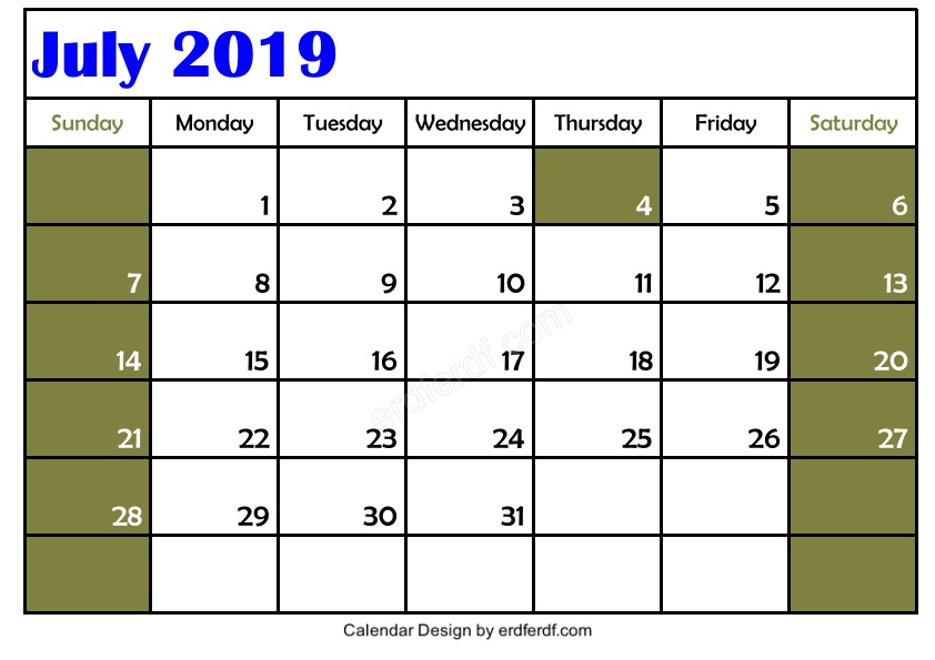 Free Download Blank July 2019 Calendar Printable Simple