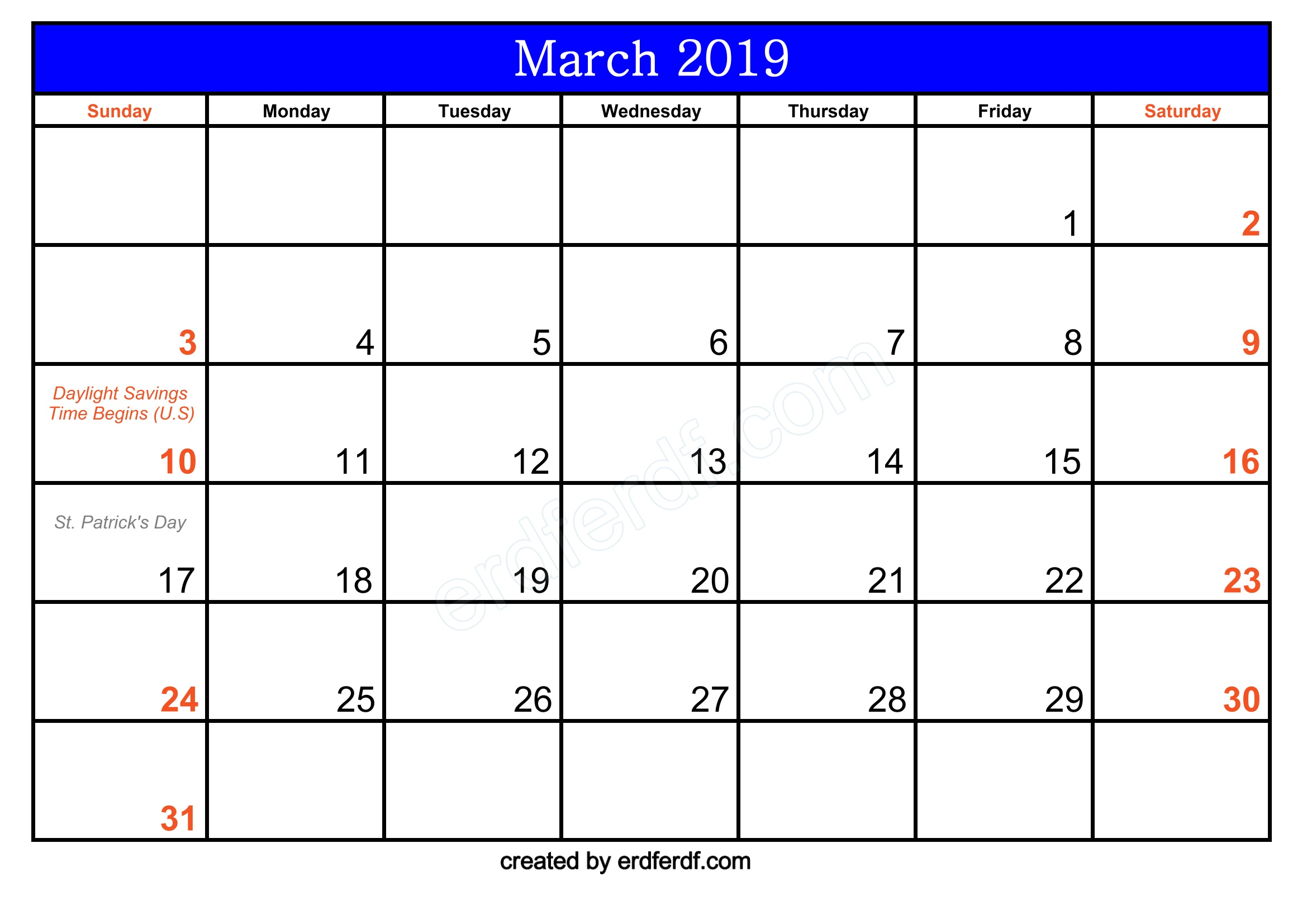 Free March 2019 Printable Calendar With Holidays Download