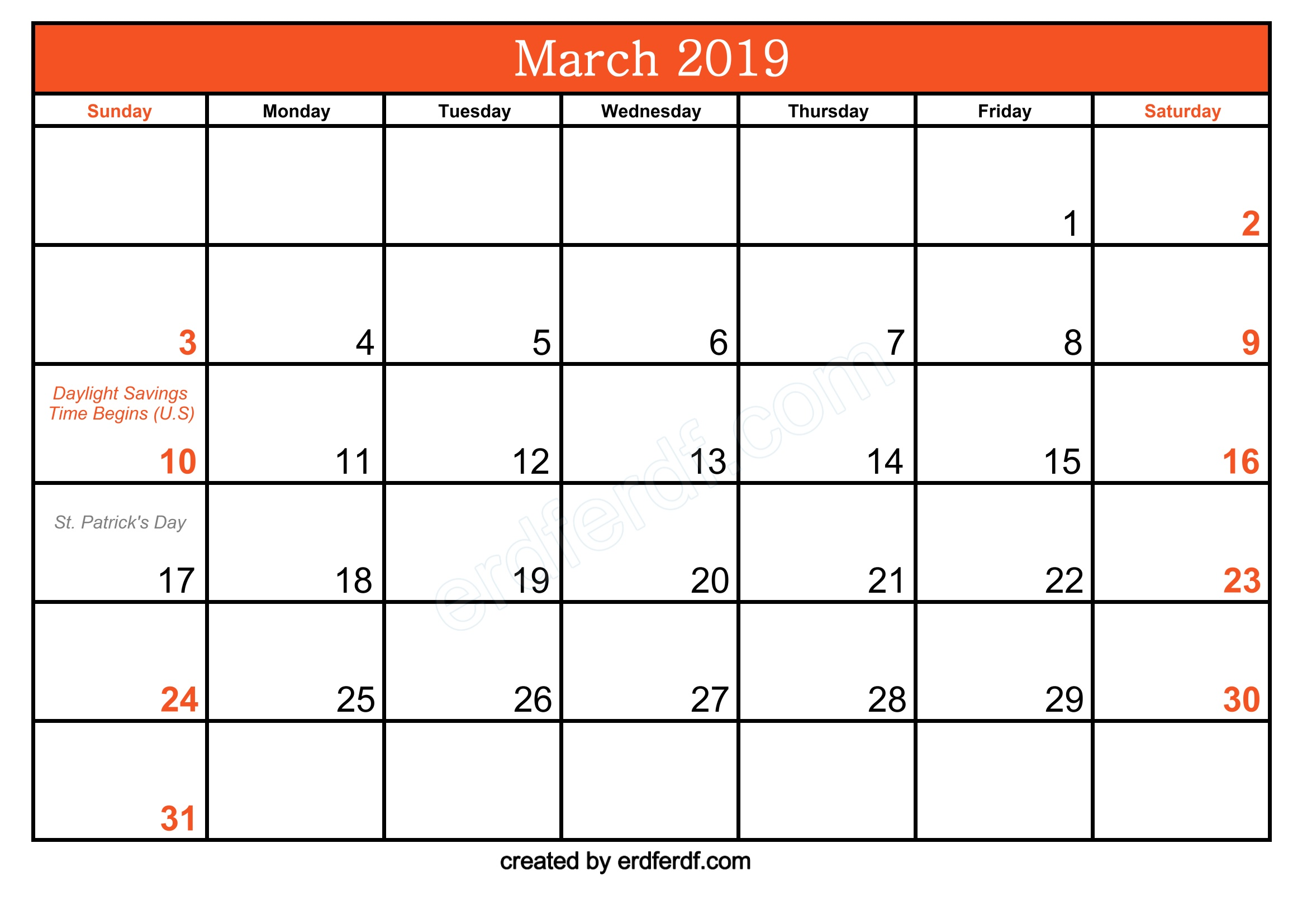 Free March 2019 Printable Calendar With Holidays