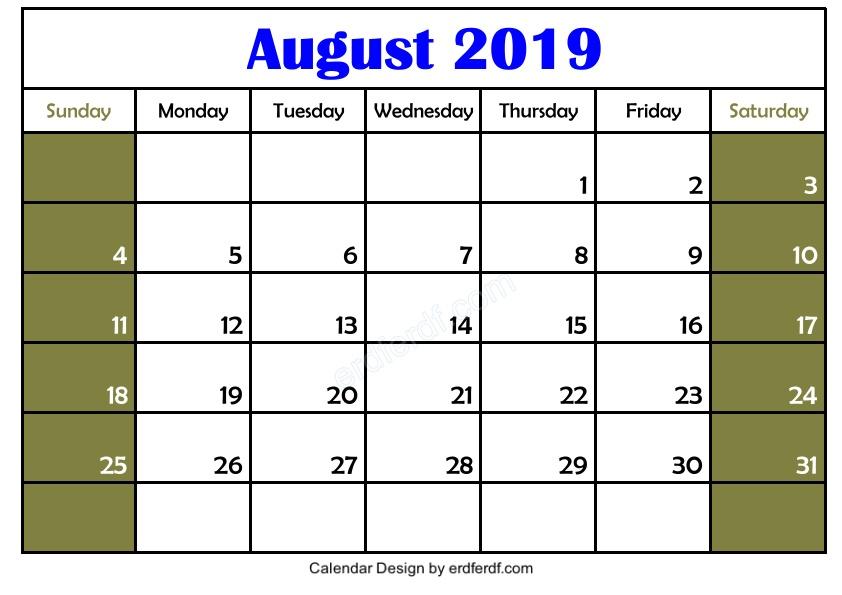 Get 3 Blank August 2019 Calendar Printable Download Free 2