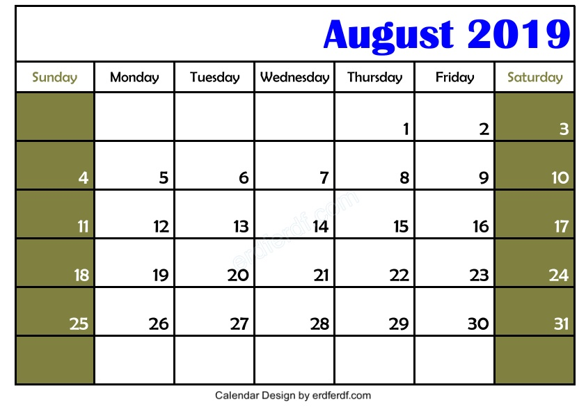 Get 3 Blank August 2019 Calendar Printable Download Free