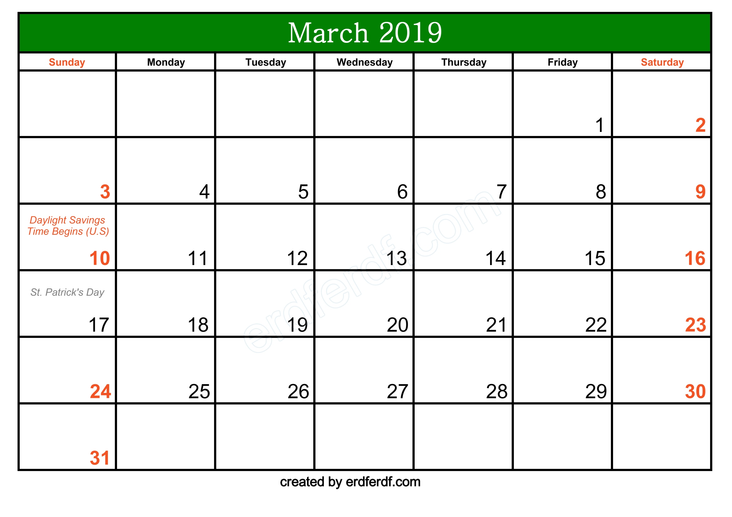 Green Header Free March 2019 Printable Calendar With Holidays