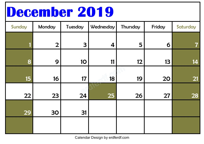 My Design Blank December 2019 Calendar Printable Example