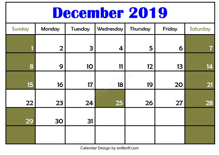 My Design Blank December 2019 Calendar Printable Format