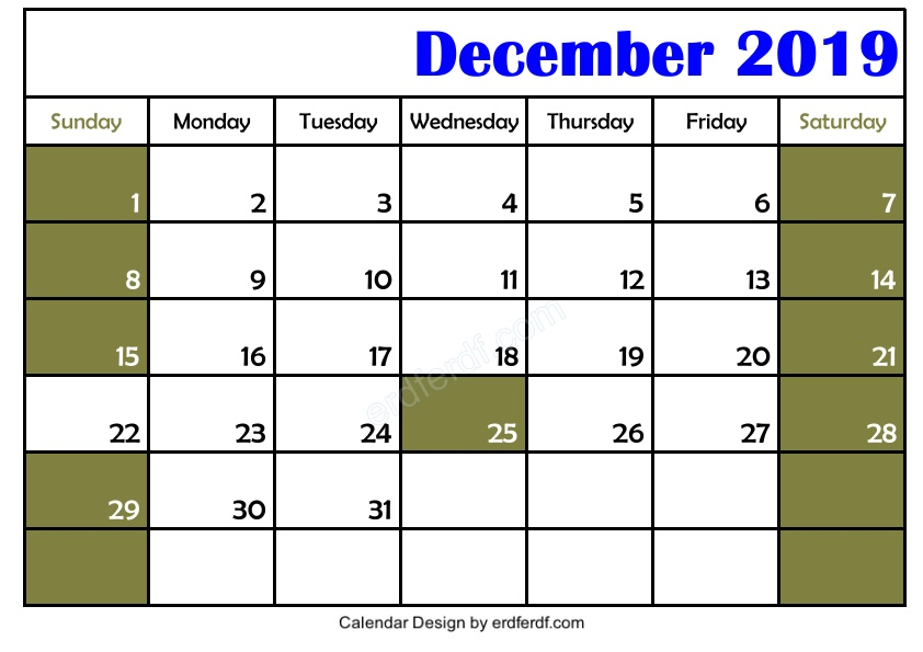 My Design Blank December 2019 Calendar Printable Template