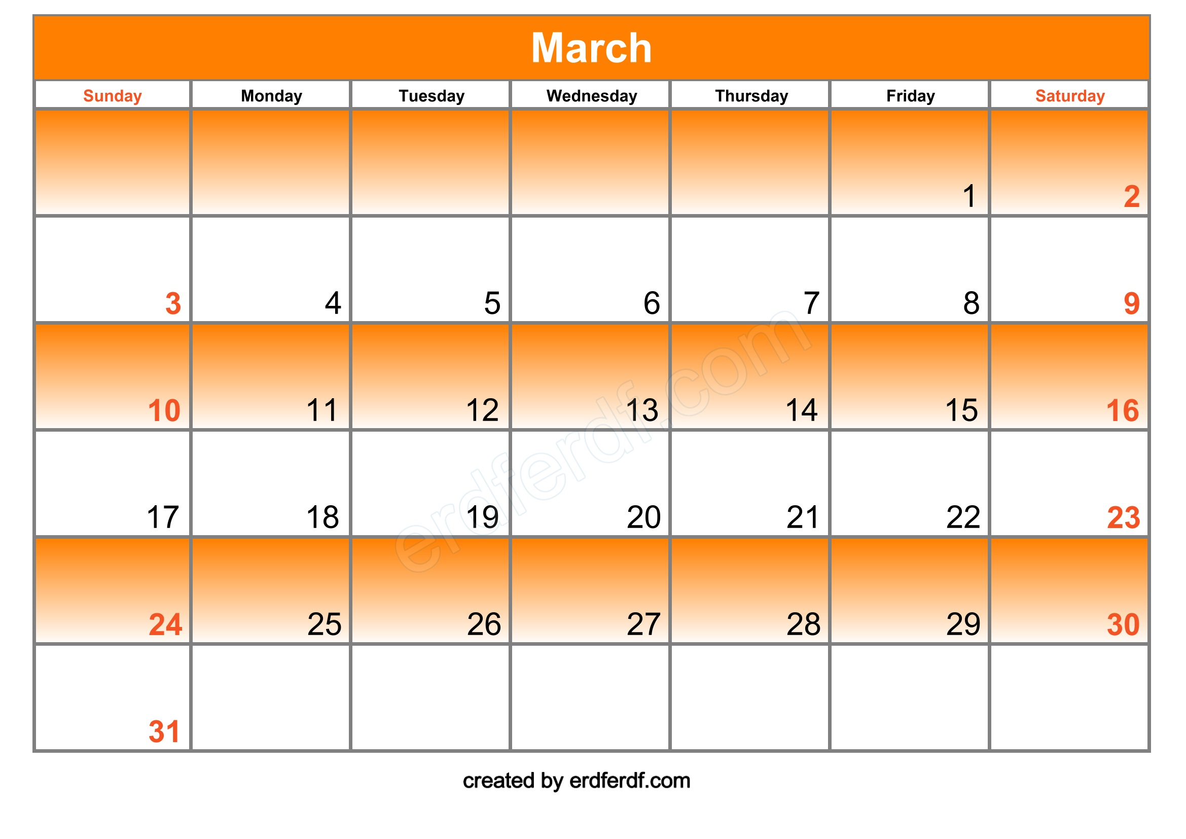 blank march 2019 calendar free for download