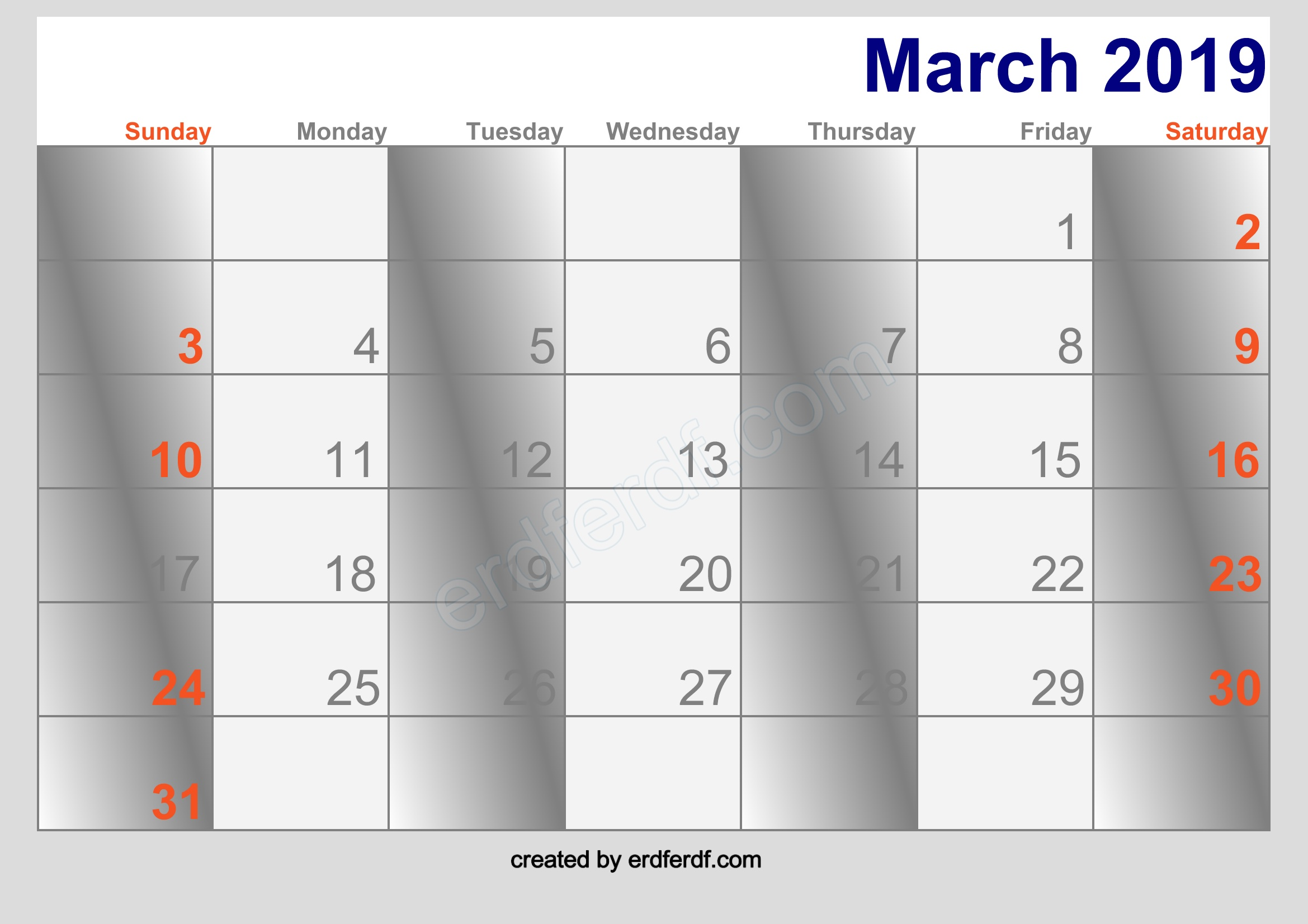 march 2019 blank calendar free download