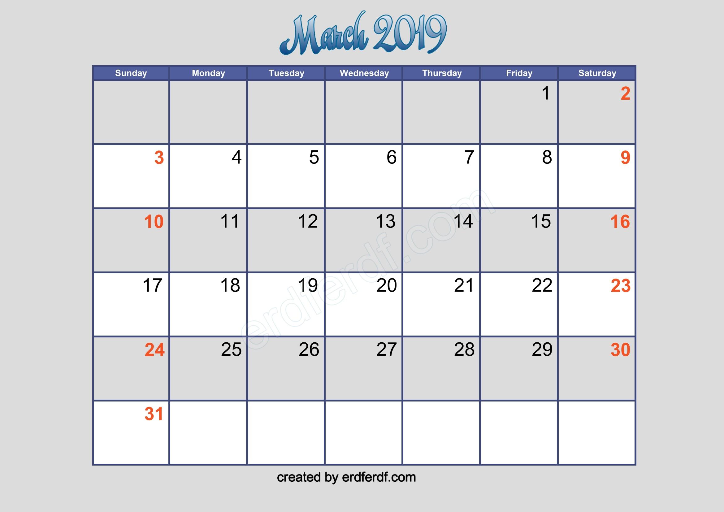 march 2019 blank calendar