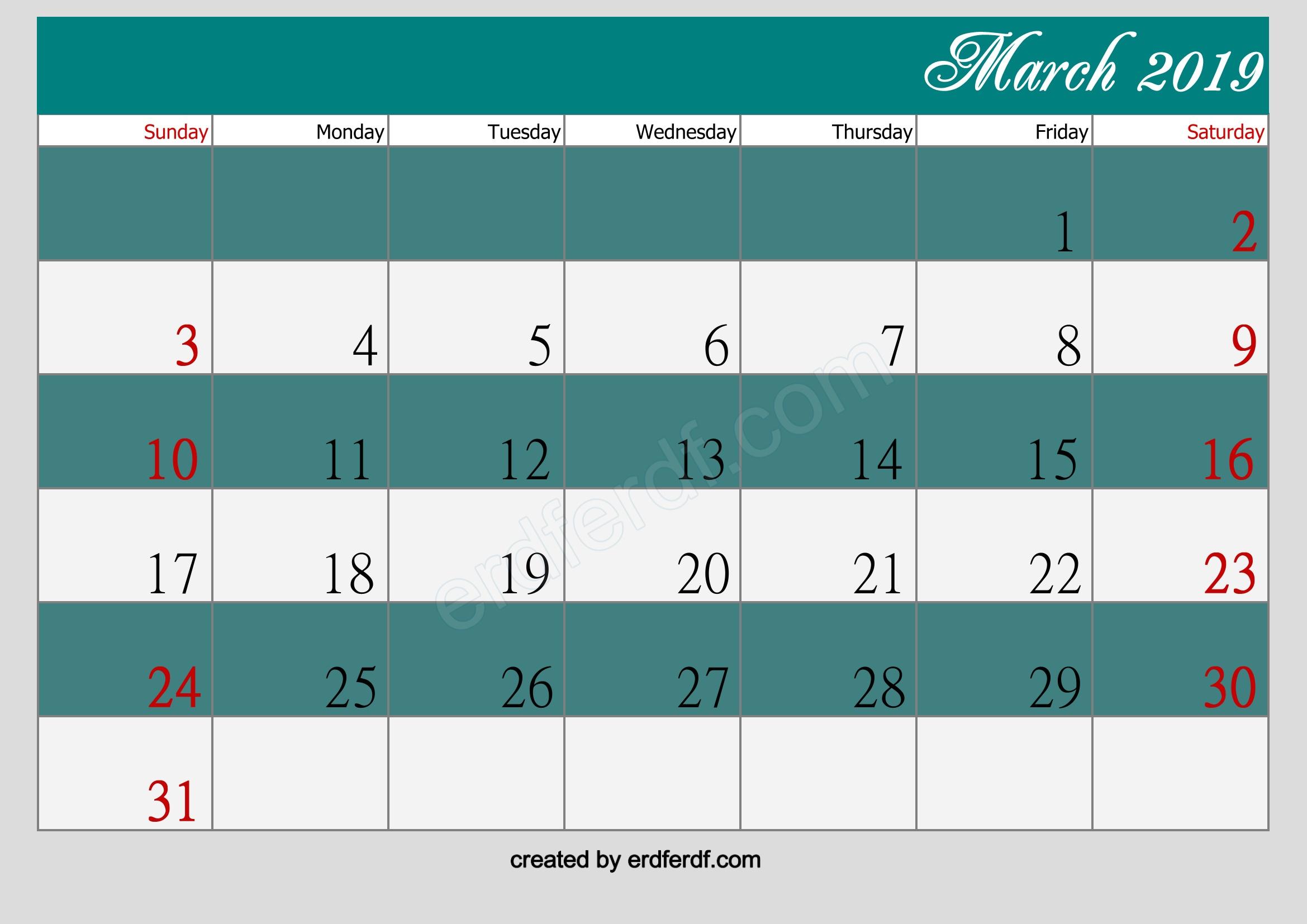 march 2019 printable calendar printable