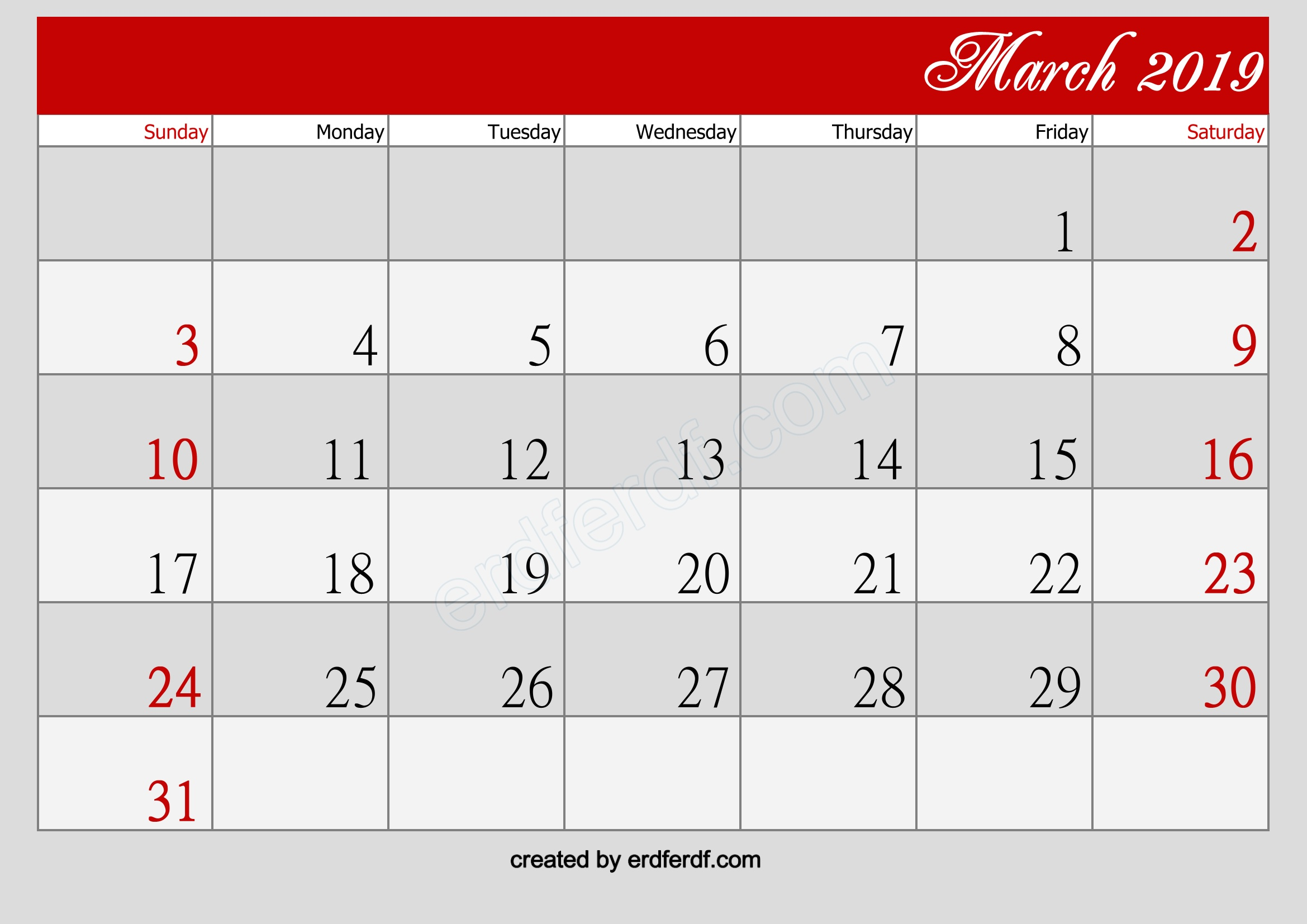 March Calendar 2019 Printable Free Blank Simple