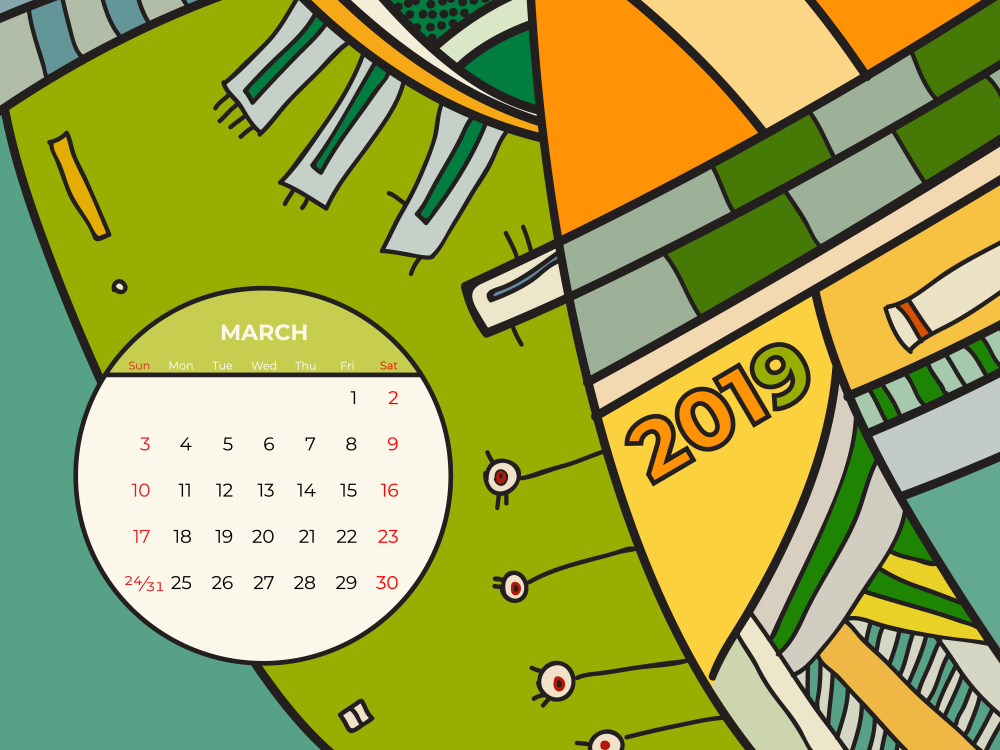 2019 march calendar abstract contemporary art vector