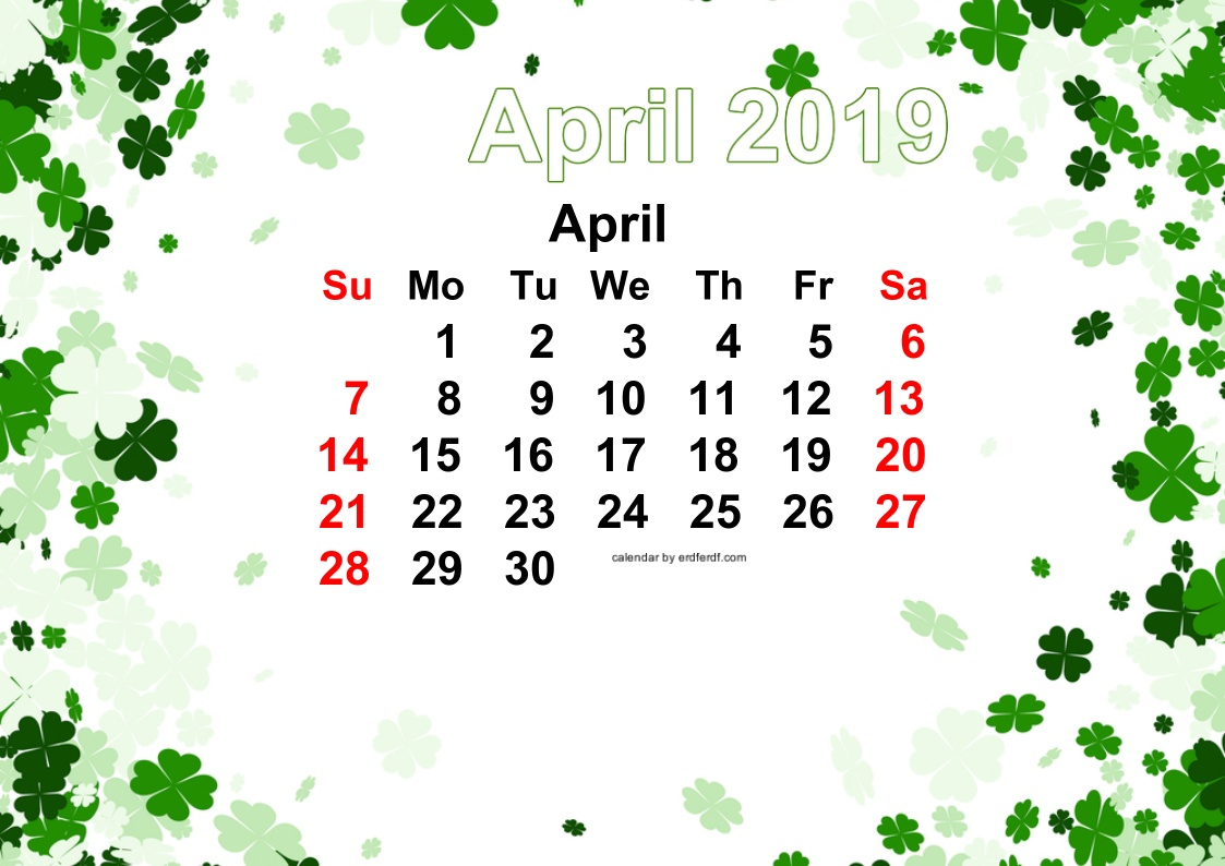 9 Printable April 2019 Template Free Green Vector Floral Free