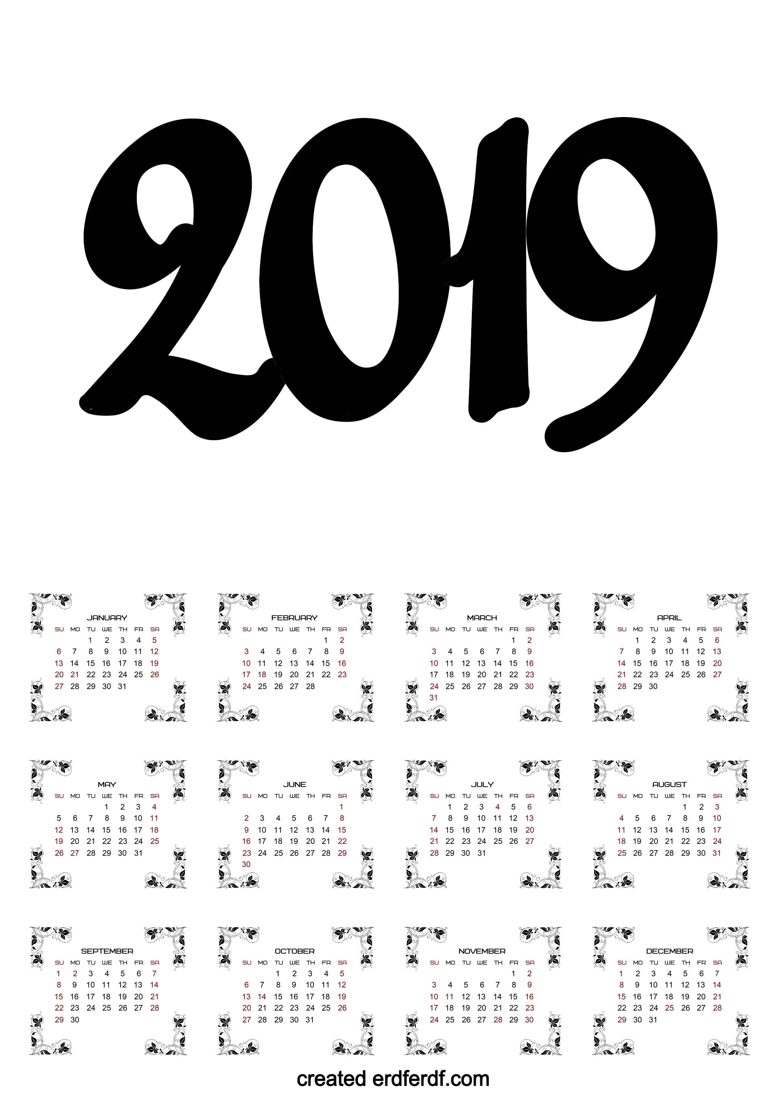 A3 Calendar 2019 Printable One Page Clasic erdferdf com frame