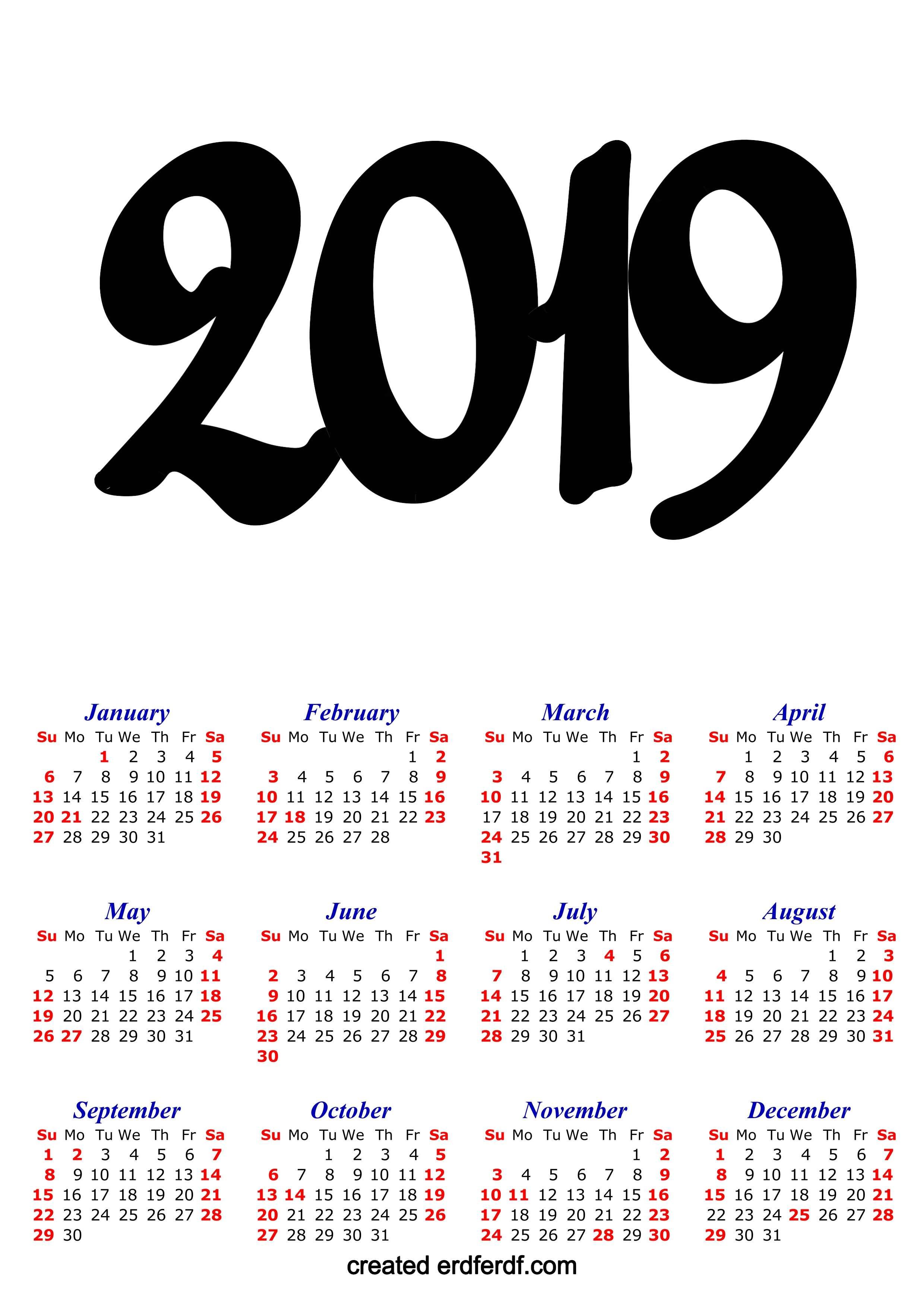 A3 Calendar 2019 Printable One Page Clasic erdferdf com