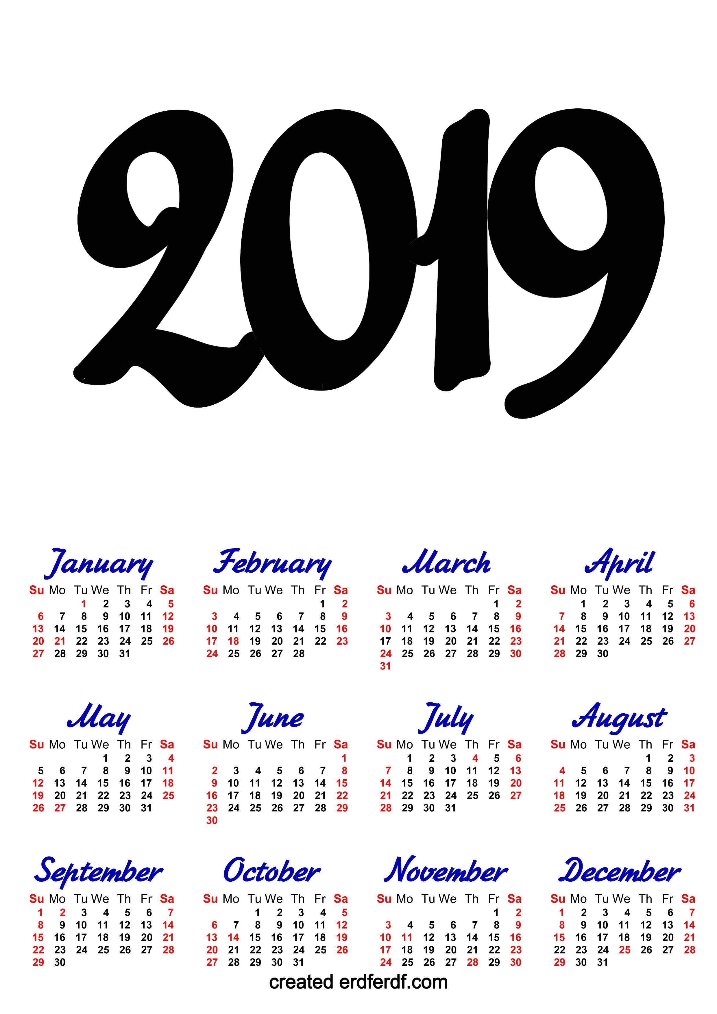 A3 Calendar 2019 Printable One Page Clasic