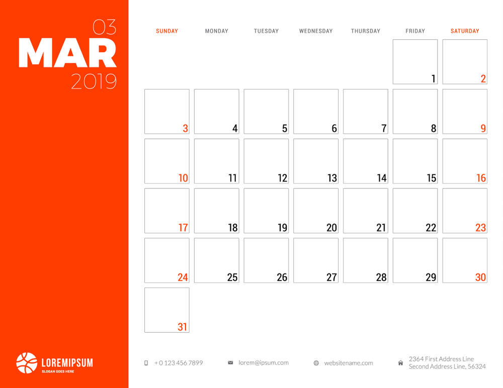 Calendar planner for March 2019 Week starts on Sunday Printable vector stationery design template Vector