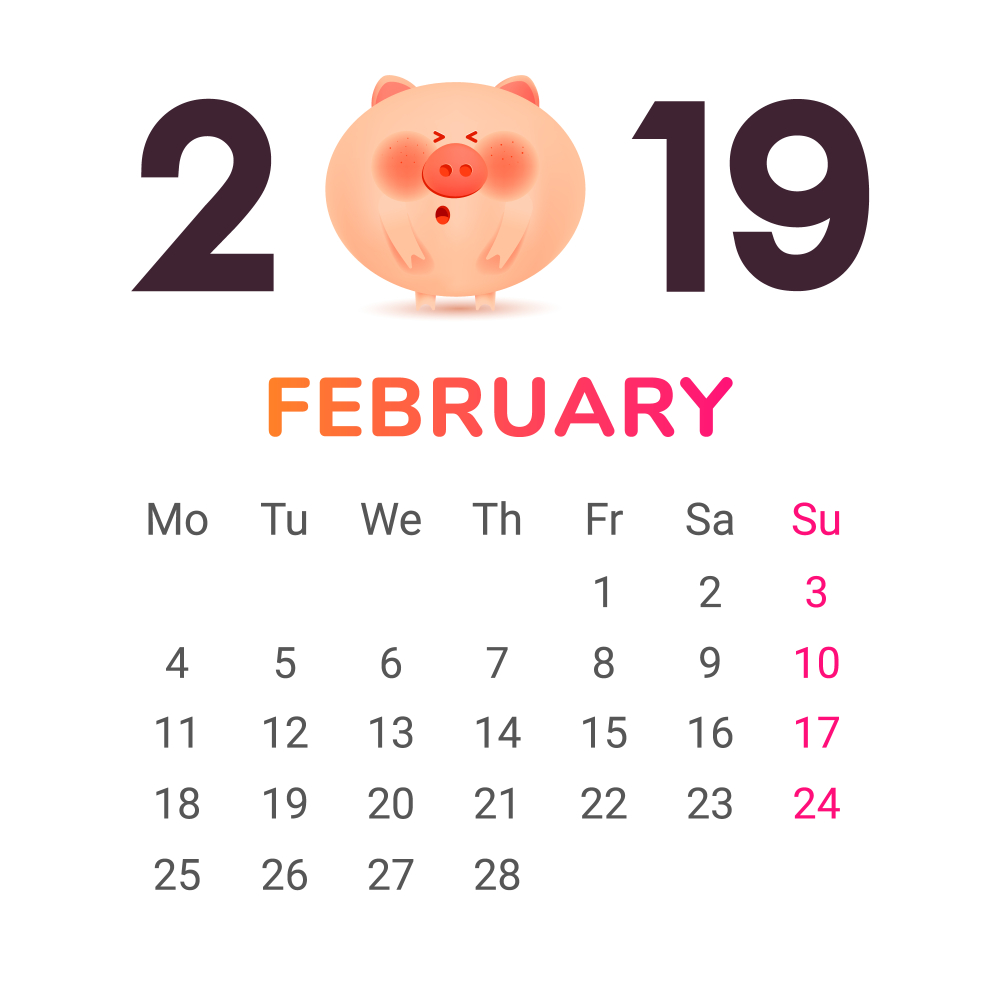February 2019 Calendar Month Color numbers with a jolly fat pig and gift Vector