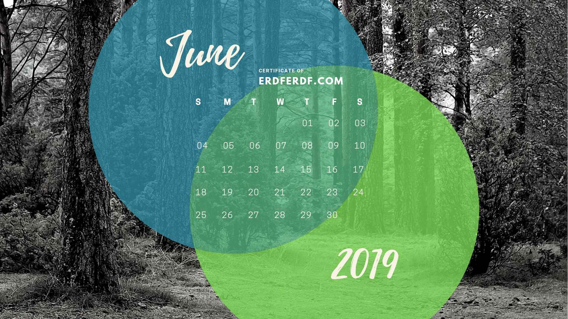 Five Calendar June 2019 Nature Template Printable