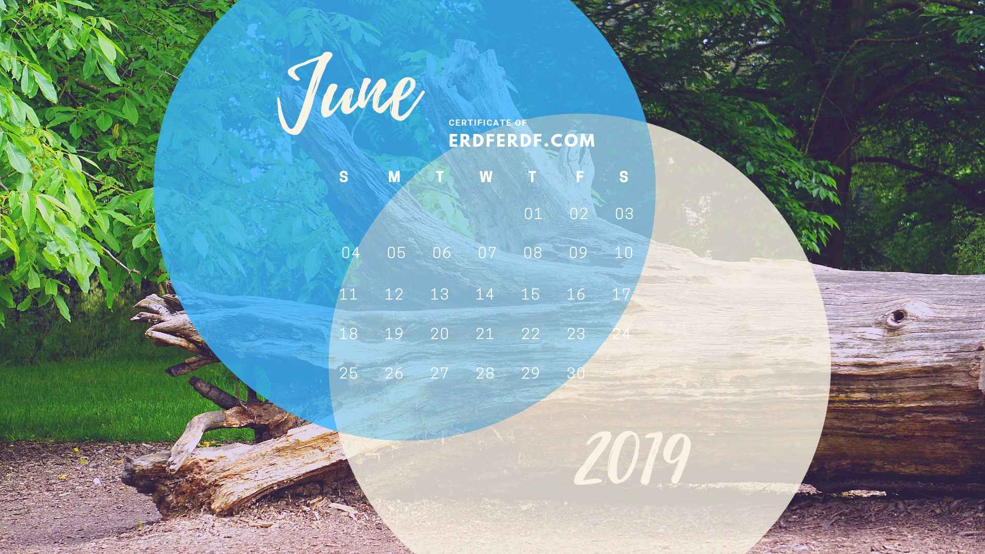 Five Calendar June 2019 Nature Template Printable 2