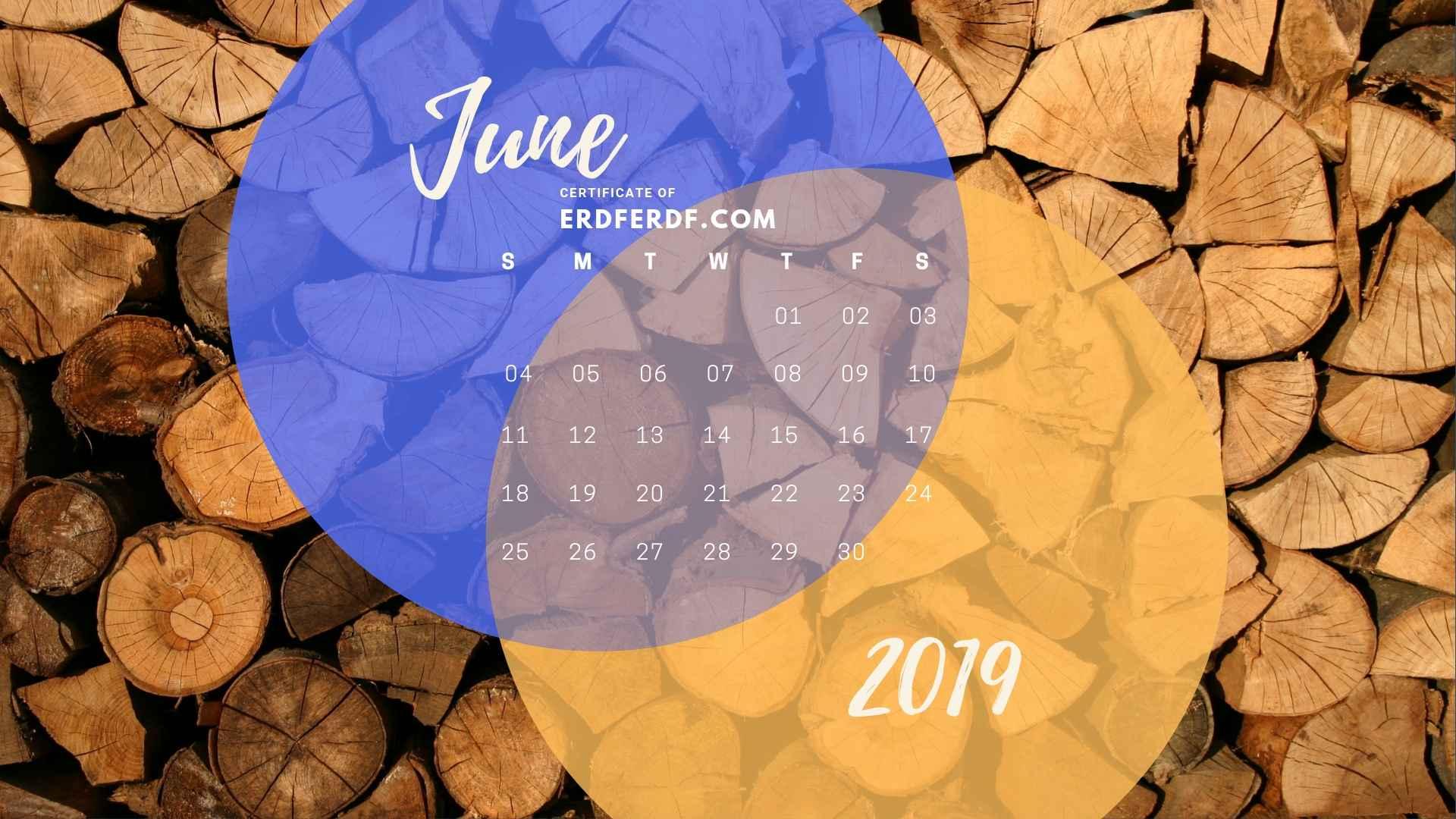 Five Calendar June 2019 Nature Template Printable 5