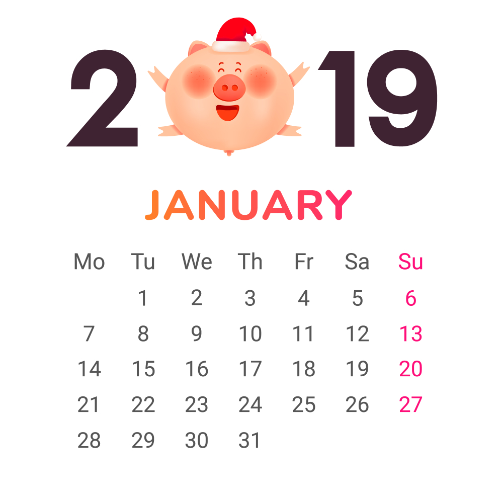 January 2019 Calendar Month Color numbers with a jolly fat pig and gift Vector