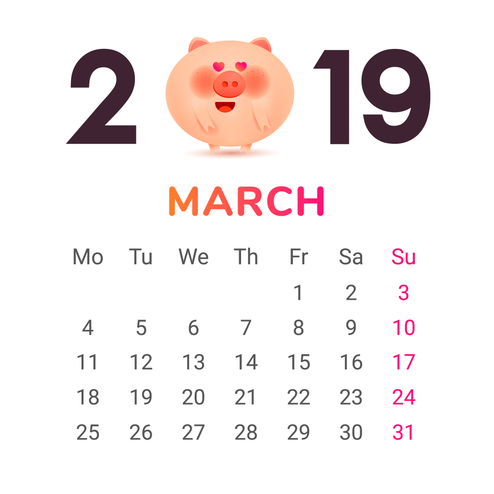 March 2019 Calendar Month Color numbers with a jolly fat pig and gift Vector
